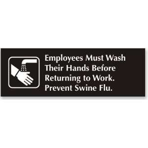 Employees Wash Hands Sign Outdoor Engraved, 12 x 4