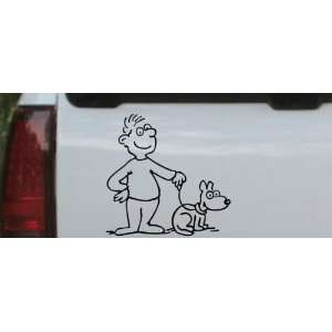 Black 12in X 12.2in    Man and Dog Stick Family Car Window Wall Laptop