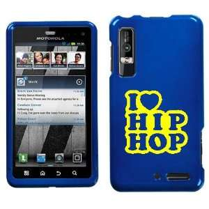 XT862 YELLOW I LOVE HIP HOP ON BLUE HARD CASE COVER