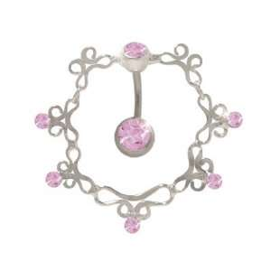 Antique Reversed Belly Ring with Pink Cz Gems Jewelry