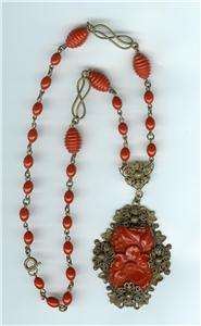 Vintage 30s Victorian Revival Coral Necklace Art Deco Glass and Brass
