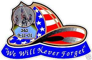 2Lg. Fire Fighter Helmet sticker decal 911 never forget
