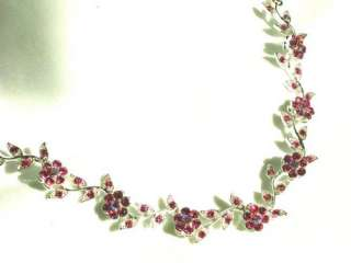 Pink Crystal Flower Vine Ladies Necklace & Earrings