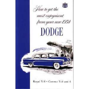1954 DODGE Car Full Line Owners Manual User Guide