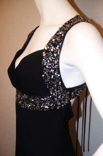 NWT STUNNING GORGEOUS BLACK FORMAL GOWN LONG PROM DRESS W/ SILVER