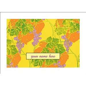 Personalized Stationery Note Cards with Art Nouveau Grapes