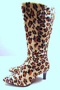 Faux LEOPARD PRINT FUR BOOT Calf Length Kitten Heel ALL SIZES 95p Post