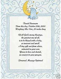 New Baby Boy Personalized Poem Print NEW ARRIVAL