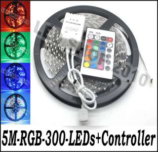 5M 3528 RGB NO Waterproof Flexible Strip 300 LED 60leds/M + 24 key