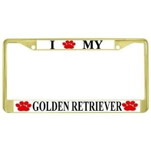 Golden Retriever Paw Prints Dog Gold Metal License Plate Frame Holder