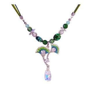 Ginkgo Leaf Swarovski Crystal Necklace (Green Theme
