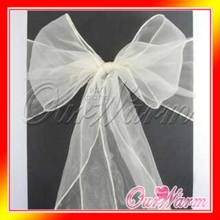 50 Ivory White Beige Cream Pearl Chair Organza Sash Bow Wedding Party