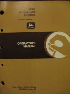 John Deere 6076 Natural Gas Engine Operator Manual