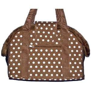 Carrier   Polka Dot Pet Carrier   Brown with White Polka Dots   Small