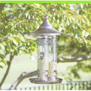 Triple Tube Copper Finish Bird Feeder Patio, Lawn