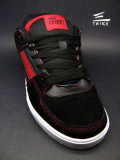 TRIKA BLACK RED SKATEBOARD SKATE SHOES MENS CASUAL WALK SNEAKER NEW