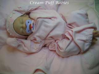 REBORN NEWBORN BABY GIRL DOLL ANGIE BY JACQUELINE GWIN & CREAM PUFF