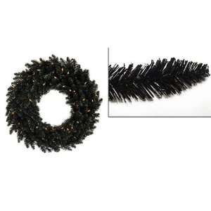 5 Pre Lit Black Ashley Spruce Christmas Wreath   Clear