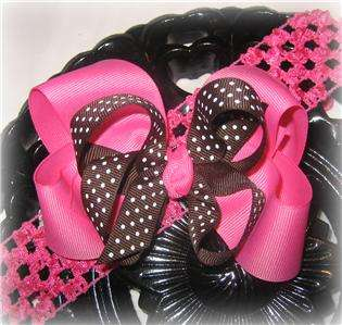 Pink Brown Dots Hair Bow Baby Toddler Boutique Clip