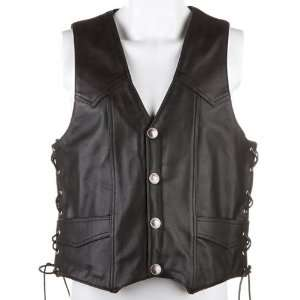 RIVER ROAD WYOMING NICKEL LEATHER VEST BLACK 3XL