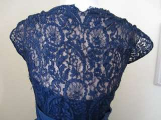 Navy Blue Lace Party Dress Illusion Silk M L Wedding Prom As Is