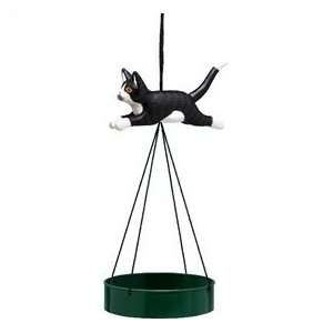Bobbo Bird Feeder Suspend Tray Cat Black/White Leaping