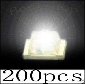 200 Pcs SMD SMT 1206 Super bright white LED lamp light