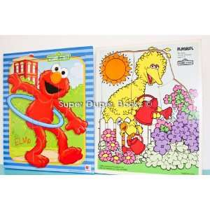 Sesame Street Character Wood Style Puzzles Featuring Elmo and Big Bird