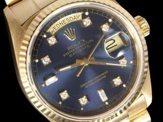 ROLEX Mens PRESIDENT DAY DATE WATCH, 18038   18K GOLD & Diamond Dial