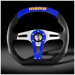 Momo Trek Blue Suede & Black Leather Steering Wheel