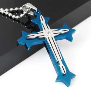 Mens Blue Stainless Steel Cross Pendant Necklace Chain