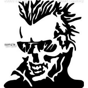 SKULL WITH SHADES AND POPPED COLLARDS SKULL WHITE VINYL DECAL STICKER