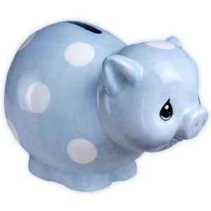 Kids Blue White Dots Pig Piggy Mony Penny Bank NEW