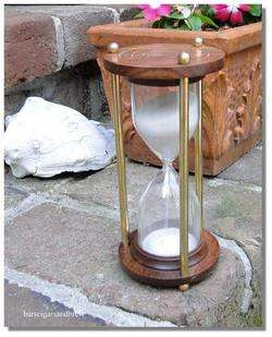 old HOURGLASS sand timer brass & wood NICE hour glass nautical time