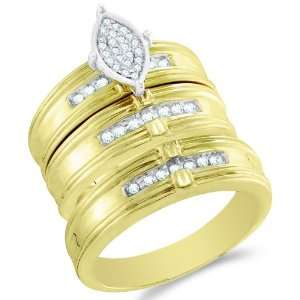 Size 8.5   10K Two Tone Gold Diamond Mens and Ladies His & Hers Trio 3