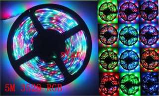 5M 3528 RGB SMD Flexible LED Light Strip 300 LED 12V 60 Leds/Meter