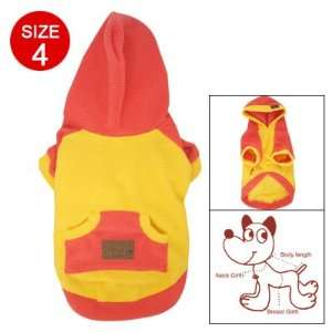 Como Yellow Red Fleece Round Hem Hooded Shirt Pet Dog Top