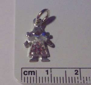 Sterling Silver Cute Girl w/ Pigtails Pink Dress Charm