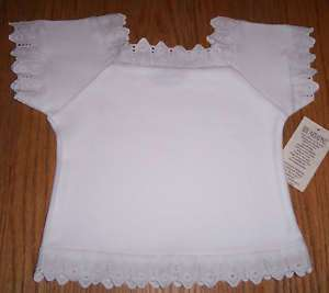 Baby Girl Cotton Eyelet Lace Top T Shirt Peasant Blouse
