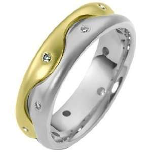 18 Karat Two Tone Gold Wave Style Diamond Band, 0.15 TCW