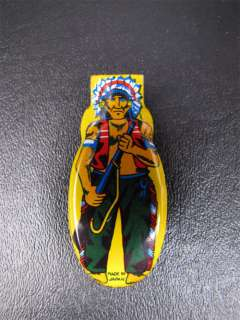Vintage Tin Litho Clicker Toy Indian Chief W/Gun Japan