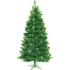 Green Pre Lit Laser Tinsel Artificial Christmas Tree   Green Lights