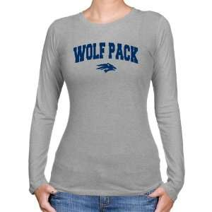 NCAA Nevada Wolf Pack Ladies Ash Logo Arch Long Sleeve