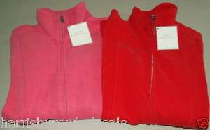 NWT LADY HATHAWAY Soft, Full Zip Jacket, Zip Pockets RED or PINK Small