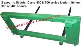 WCo Hay bale fork w/2 39 spears fit John Deere Loader