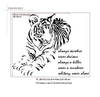 BIG TIGER & LIFE QUOTE   WALL DECOR VINYL DECAL STICKER
