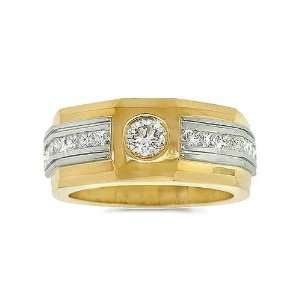 Mens Diamond Ring   European Edge Mens Diamond Band in 18k Gold Two