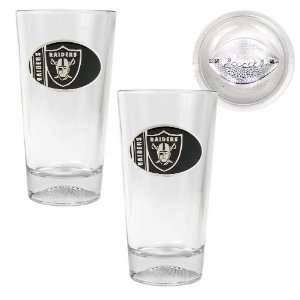 Oakland Raiders NFL 2pc Pint Ale Glass Set with Football