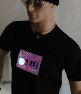 LED sound activated PLATINUM black t shirt light up HOT