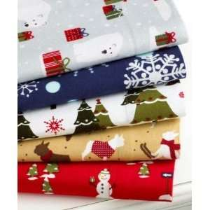 Stewart Festive Firs Holiday Flannel White Green Christmas Trees